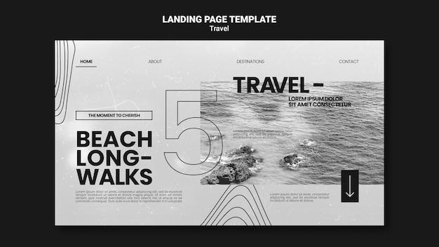 편안한 해변 산책을위한 단색 방문 페이지 템플릿