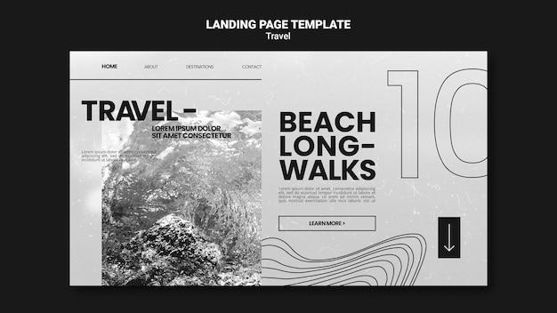 편안한 해변 산책을위한 단색 방문 페이지 템플릿 프리미엄 PSD 파일
