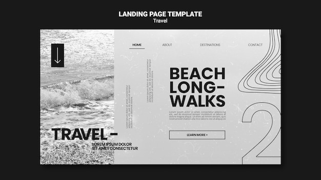 Monochromatic landing page template for relaxing beach long-walks