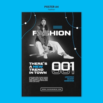 Monochromatic vertical poster template for fashion trends with woman