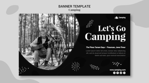 Monochrome horizontal banner for camping with couple