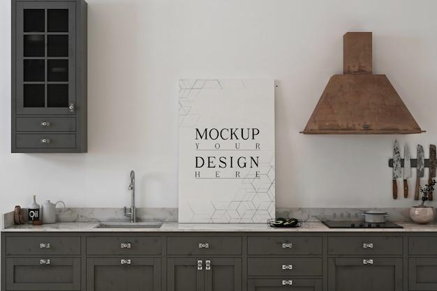포스터 캔버스 모형이있는 흑백 주방