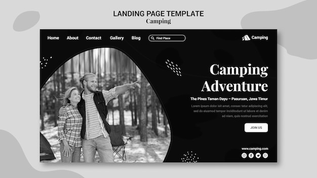 Monochrome landing page template for camping with couple