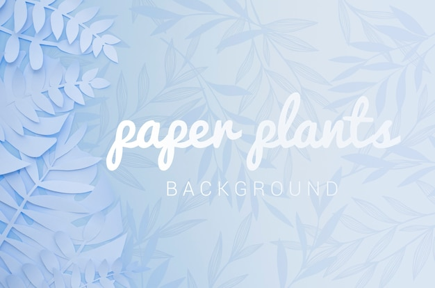 Monochrome light blue paper plant leaves background