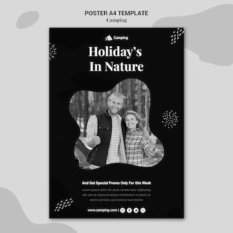 Monochrome poster template for camping with couple