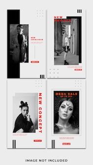 단색 빨간색 기하학적 패션 streetwear 소셜 미디어 instagram 템플릿