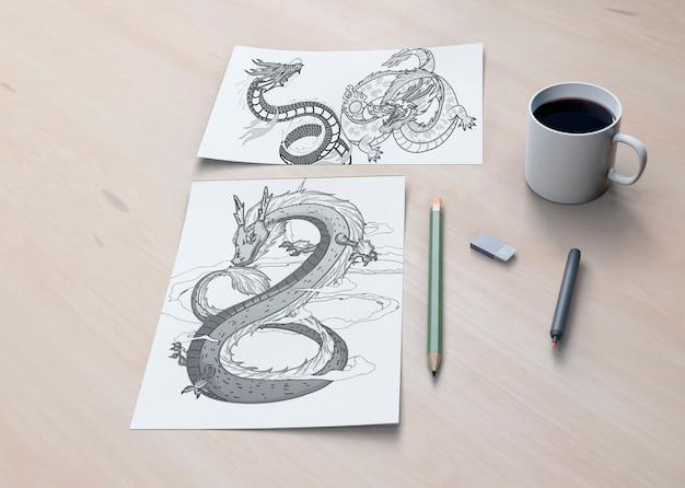 Концепция монохромный змея на листах