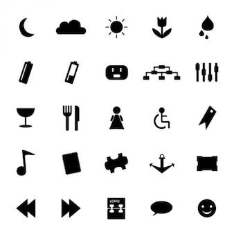 Монохромный кон символы набора