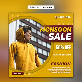 Monsoon sale social media post template