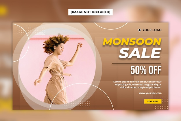 Monsoon sale web banner template