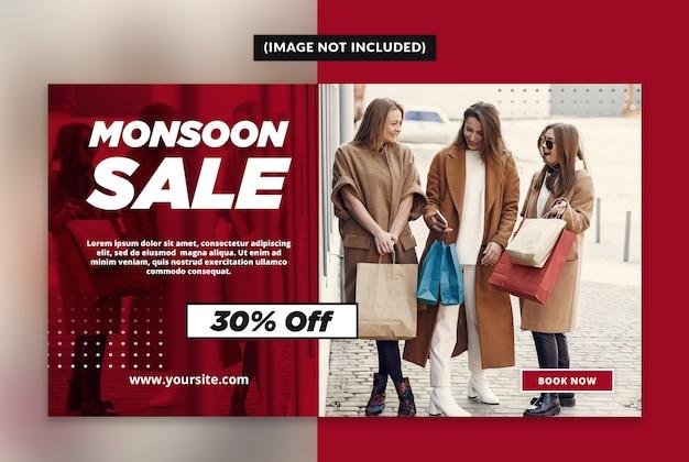 Monsoon sale web banner template
