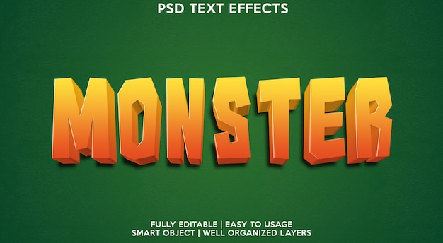 Шаблон текстового эффекта монстра