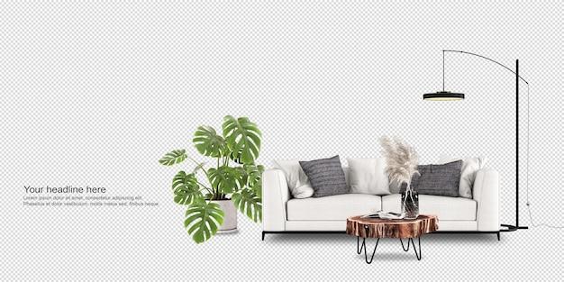 Растение монстера и диван в 3d-рендеринге
