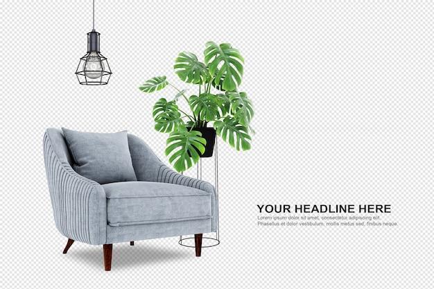 Растение монстера в горшке и кресле в 3d-рендеринге