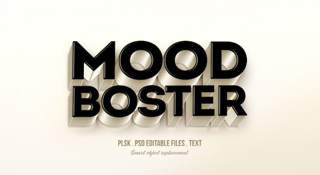 Mood boster 3d text style effect mockup