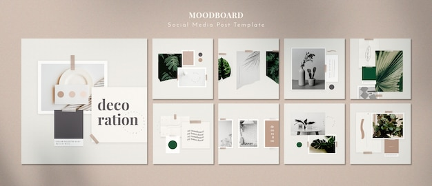 Moodboard with home decorations