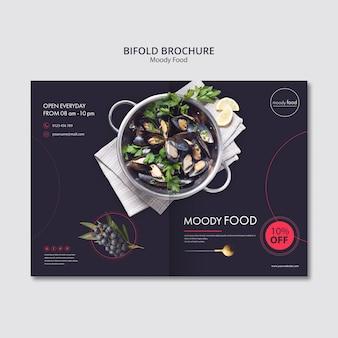 Moody food creative bifold brochure template