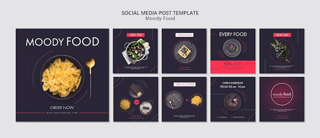 Moody food creative social media posts template