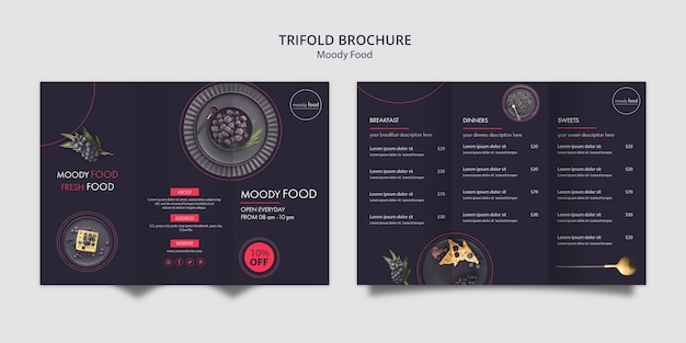 Moody food creative trifold brochure template
