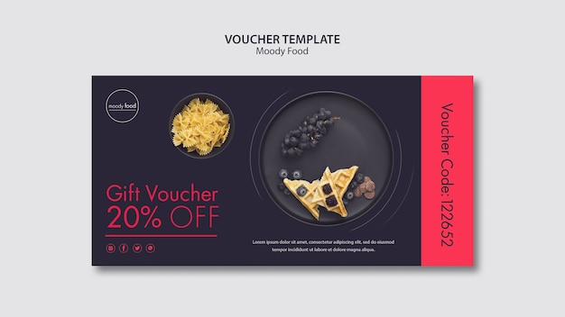 Moody food creative voucher template