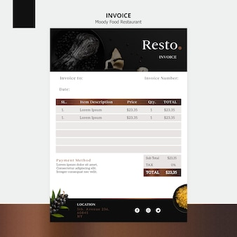 Moody food invoice template