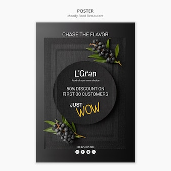 Moody food poster template