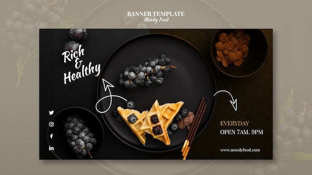 Moody food restaurant banner template concept mock-up