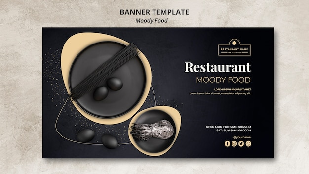 Moody food restaurant banner template concept
