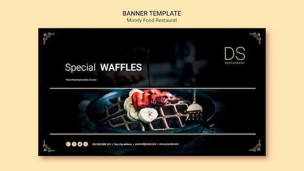 Moody food restaurant banner template with photo