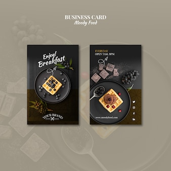 Moody food restaurant business card concept mock-up