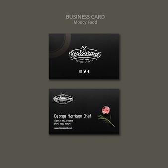 Moody food restaurant business card concept