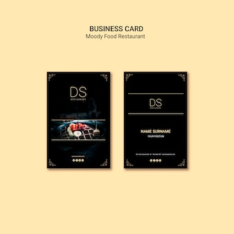 Moody food restaurant business card template