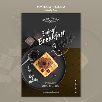 Moody food restaurant flyer concept mock-up