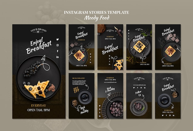 Moody food restaurant instagram stories concept mock-up