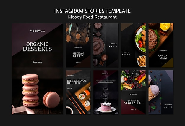 Moody food restaurant instagram stories template