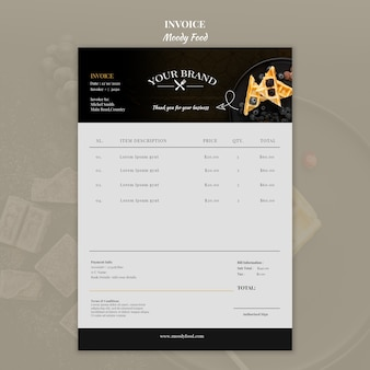 Moody food restaurant invoice concept mock-up