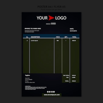 Moody food restaurant invoice template