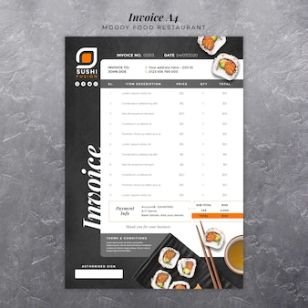 Moody food restaurant invoice