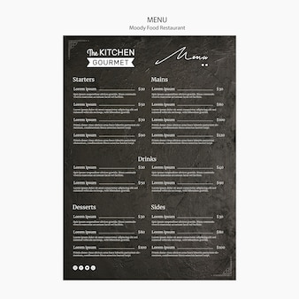 Moody food restaurant menu concept mock-up