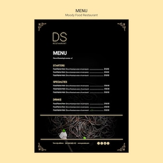 Moody food restaurant menu template with photo