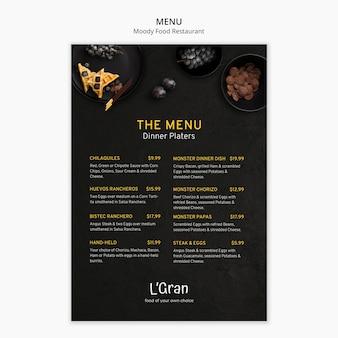 Moody food restaurant menu