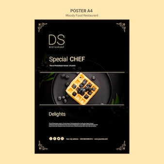Moody food restaurant poster a4 template