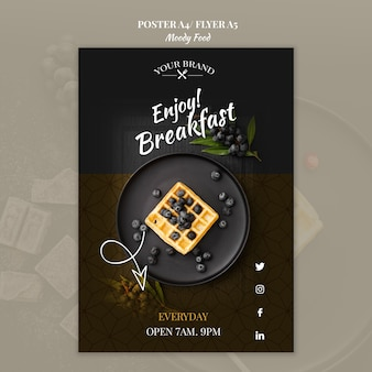 Moody food restaurant poster concept mock-up