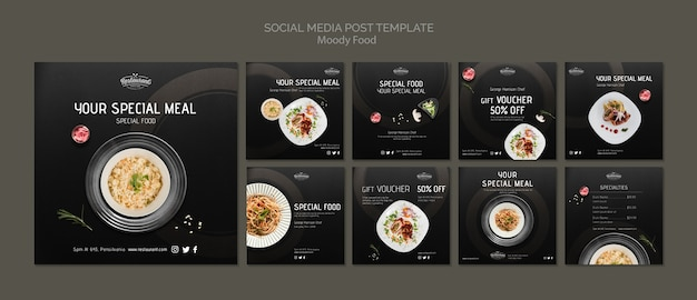Moody food restaurant social media post template concept mock-up