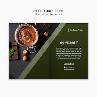 Концепция шаблона ресторана moody food для брошюры