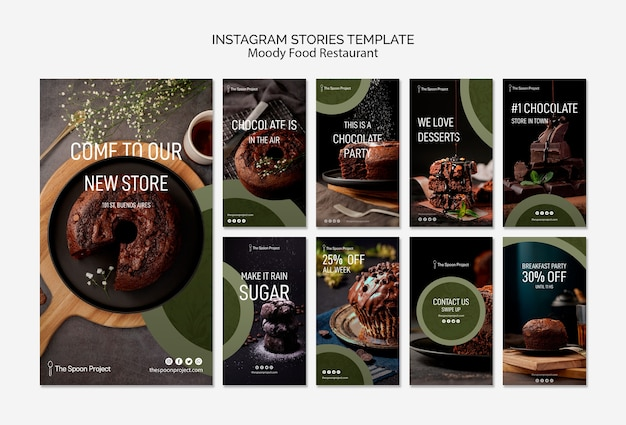 Moody food restaurant template concept for instagram stories