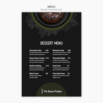 Moody food restaurant template concept for menu