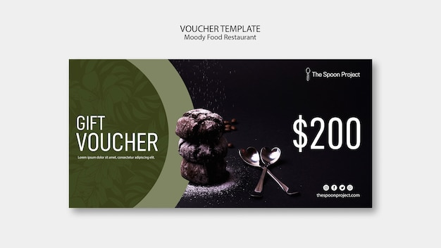 Moody food restaurant template concept for voucher