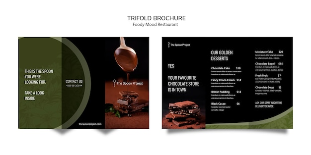 Moody food restaurant template design for brochure