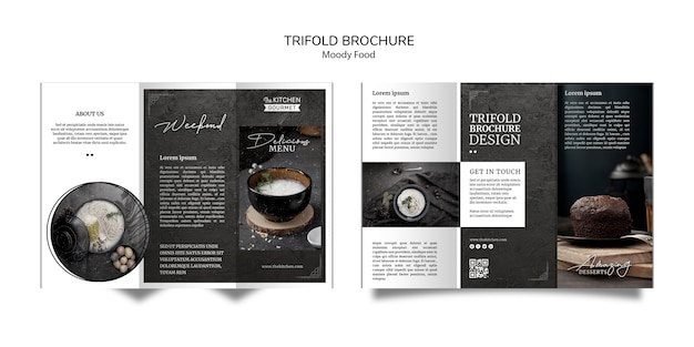 Moody food restaurant trifold brochure concept mock-up